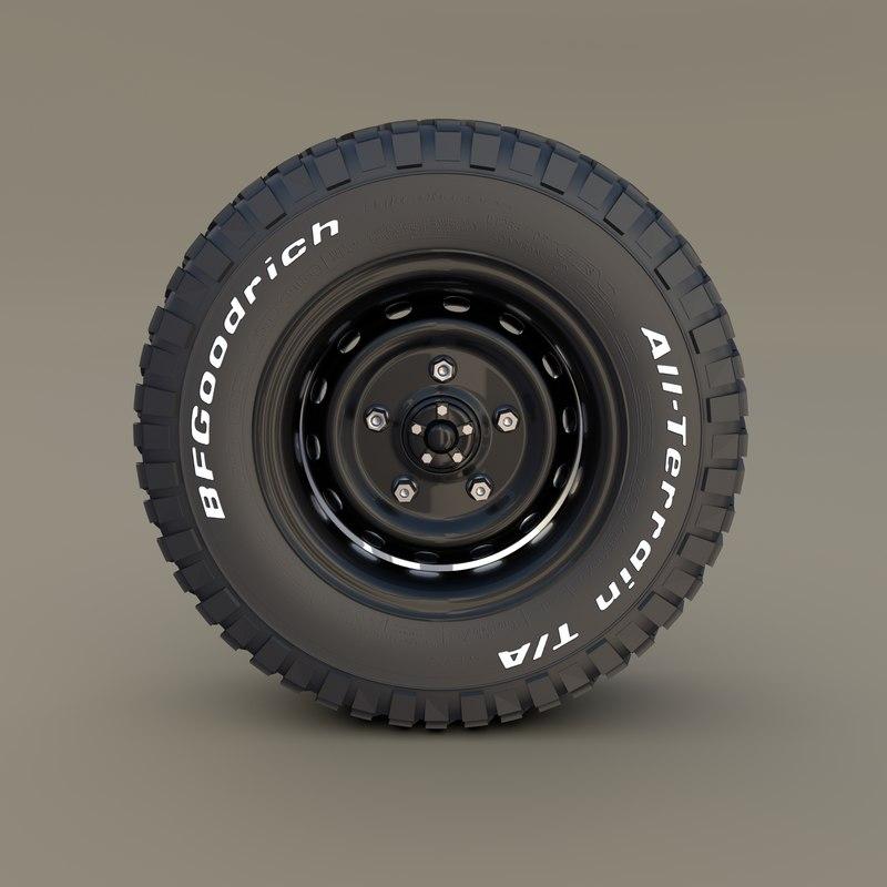 offroad bf goodrich wheel 3D model