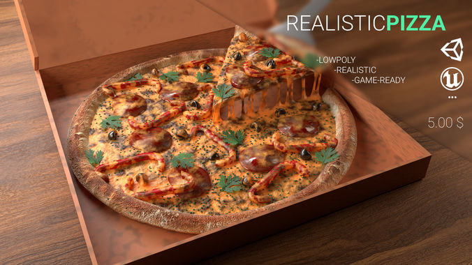 3D realistic pizza