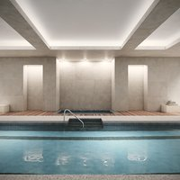 Hyper Realistic Indoor Swimming Pool Spa Interior Scene V6
