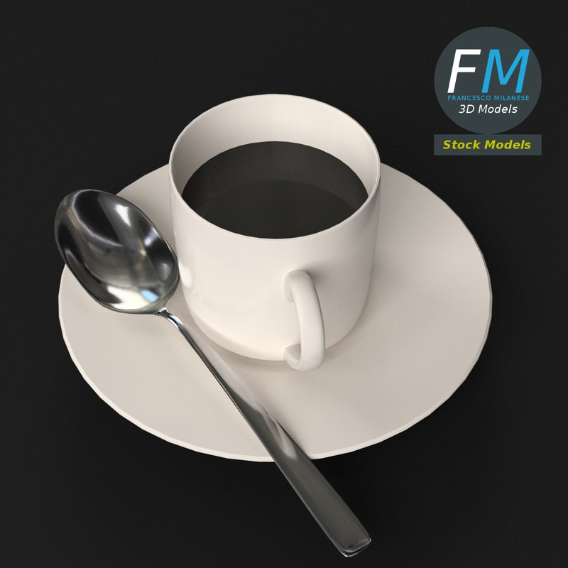 coffee cup saucer spoon model
