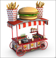 3D burger wagon cartoon