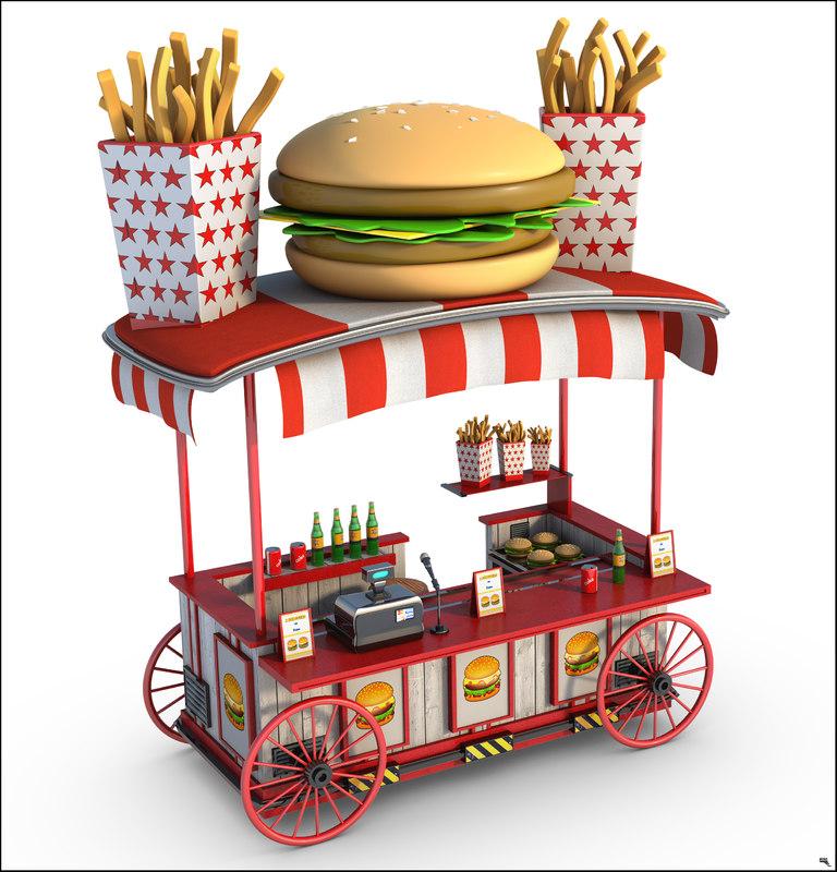 3D burger wagon cartoon