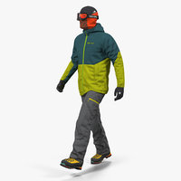 3D rock climber winter hiking