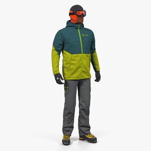 rock climber winter hiking 3D model
