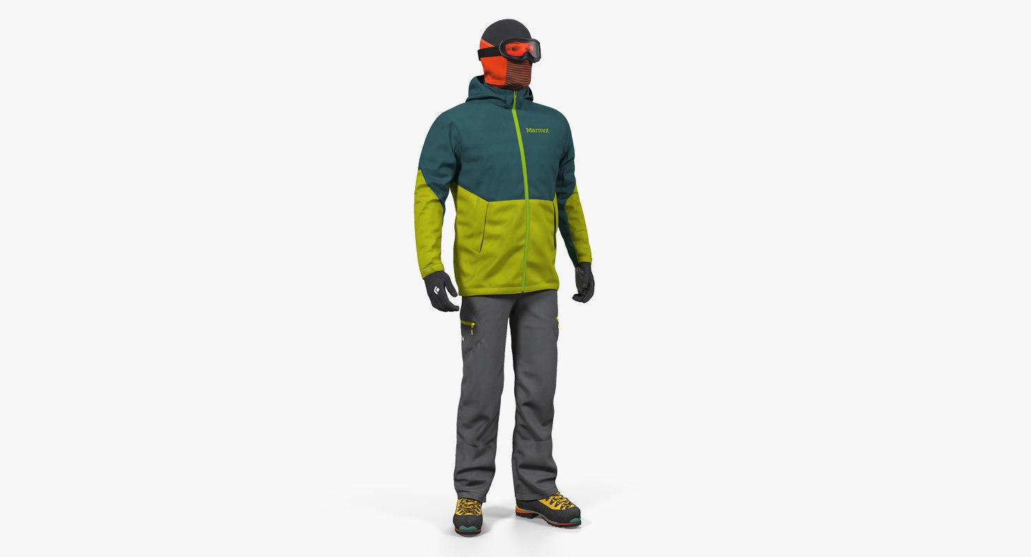 rock climber winter hiking 3D model