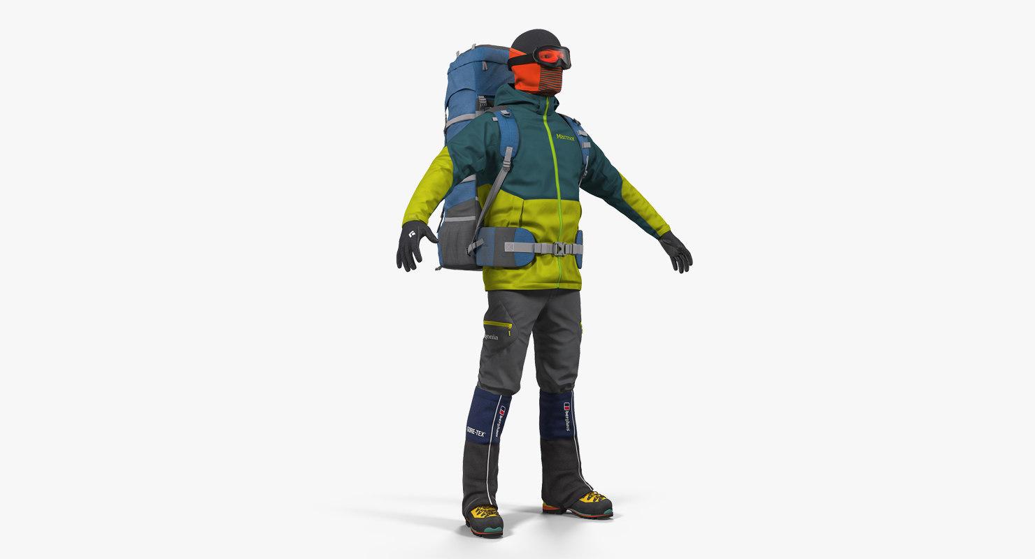 man traveler backpack 3D model