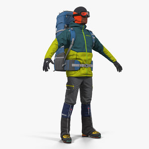 man traveler backpack 3D model