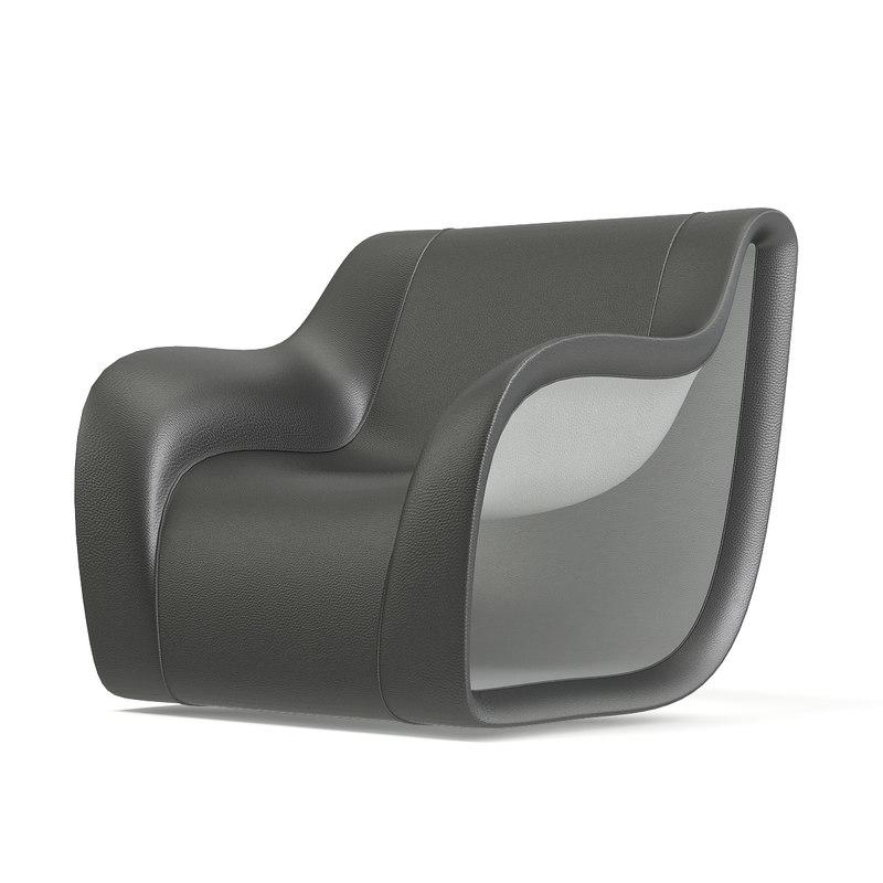grey white modern armchair 3D model