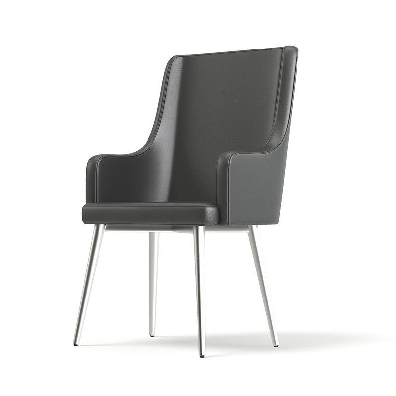 3D model tall grey armchair
