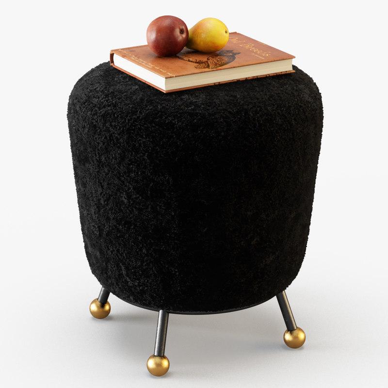 wool somali ottoman 3D model