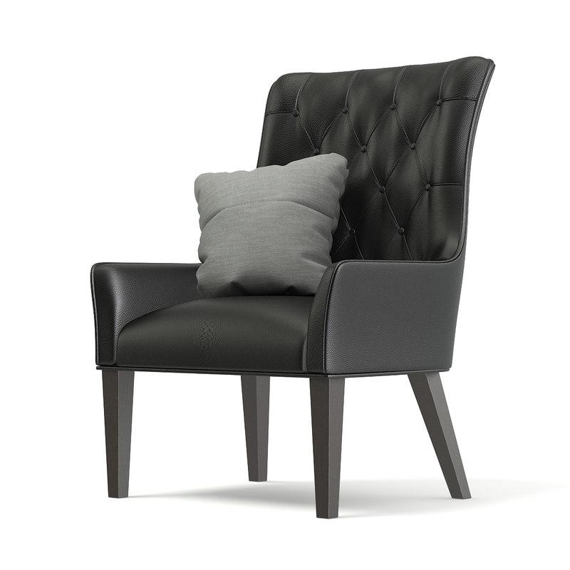 black leather classic armchair 3D model