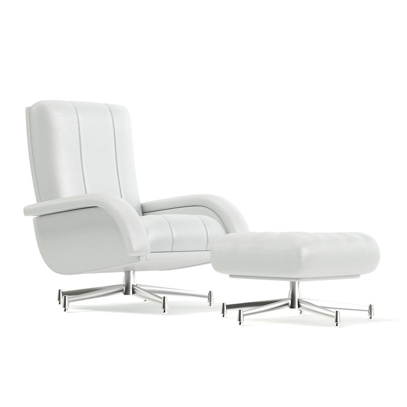 3D white leather swivel chair model