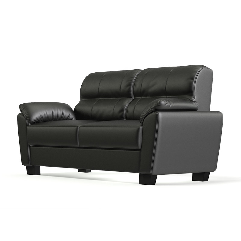 3D model black leather classic sofa