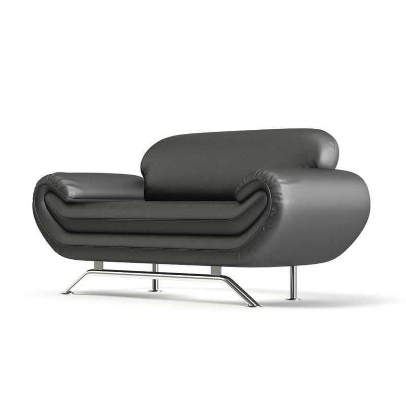 black leather modern sofa model