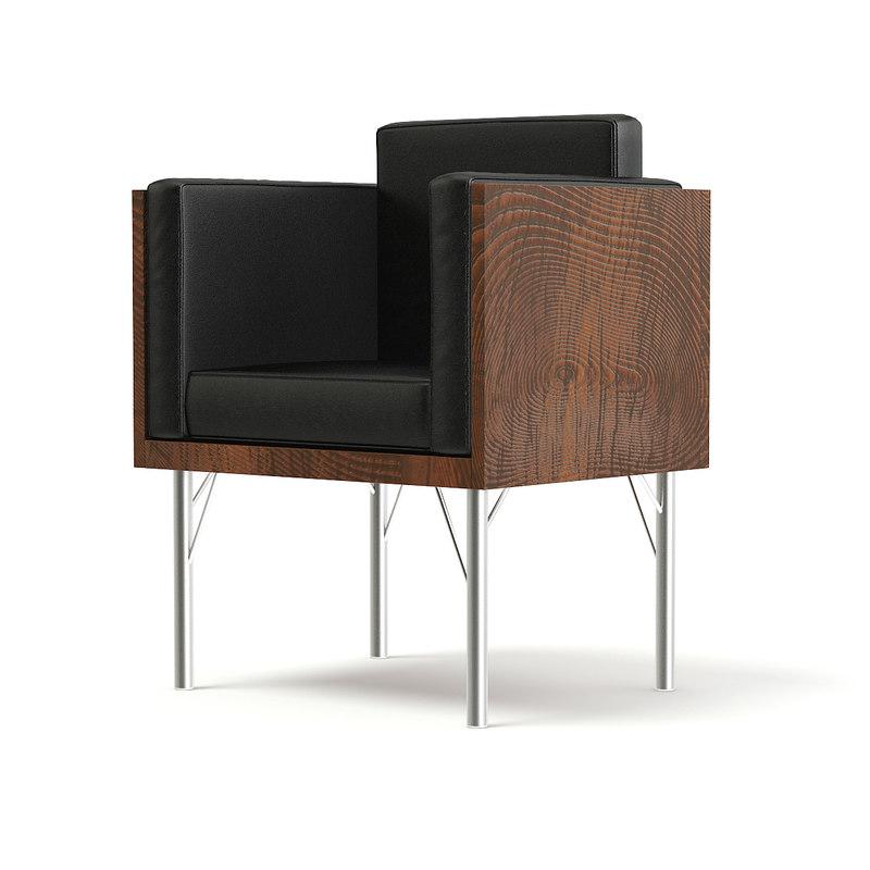 3D black leather armchair wooden