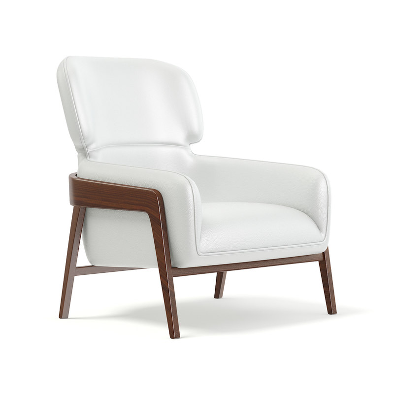 white leather armchair model