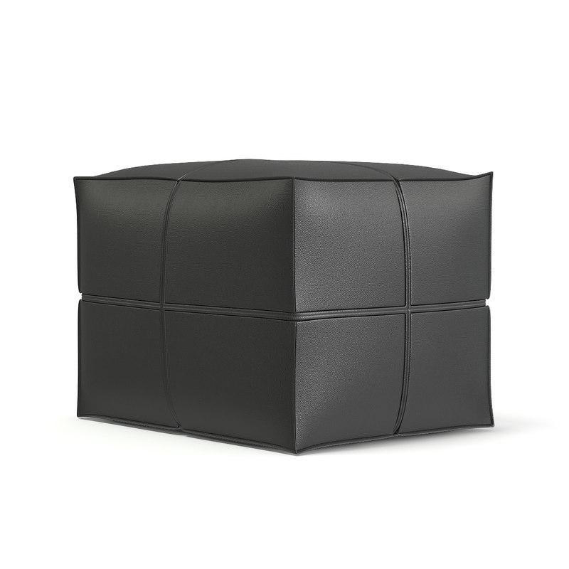 3D dark grey leather pouf model