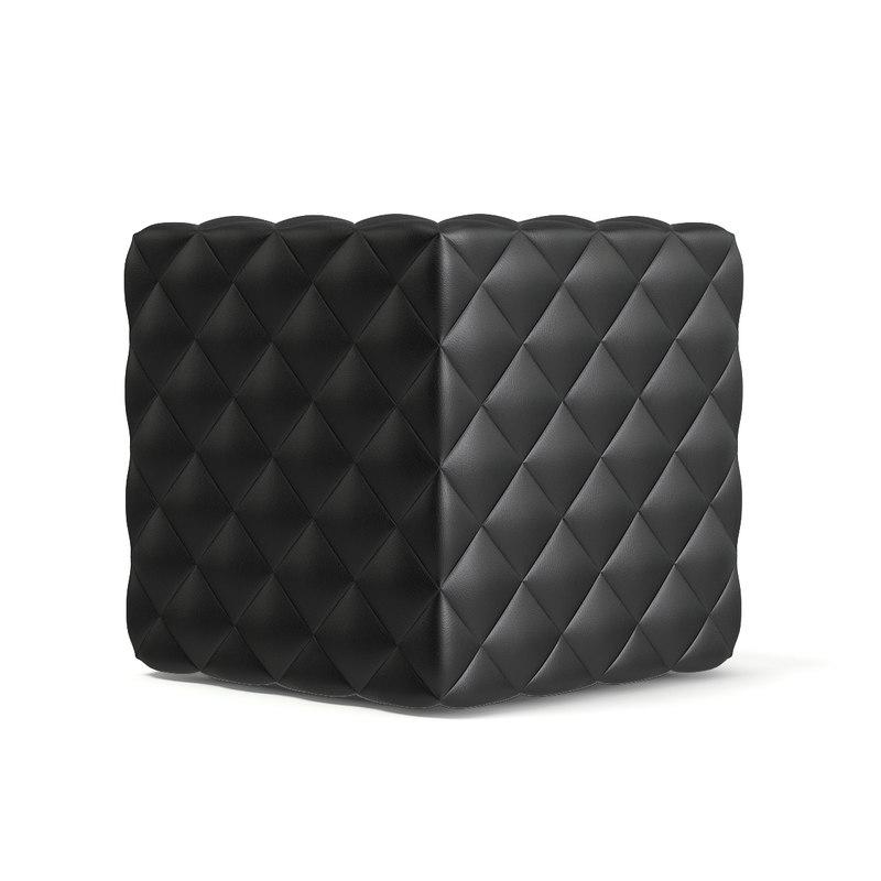 3D black leather cube pouf
