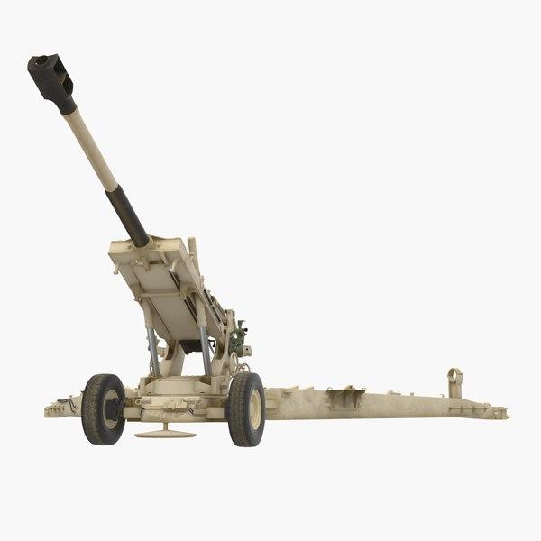 3D artillery m198 155mm howitzer model