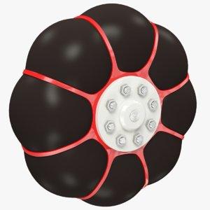 3D model terrain vehicle wheel