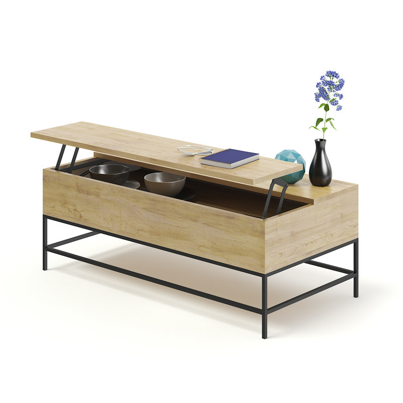 3D opened wooden coffee table