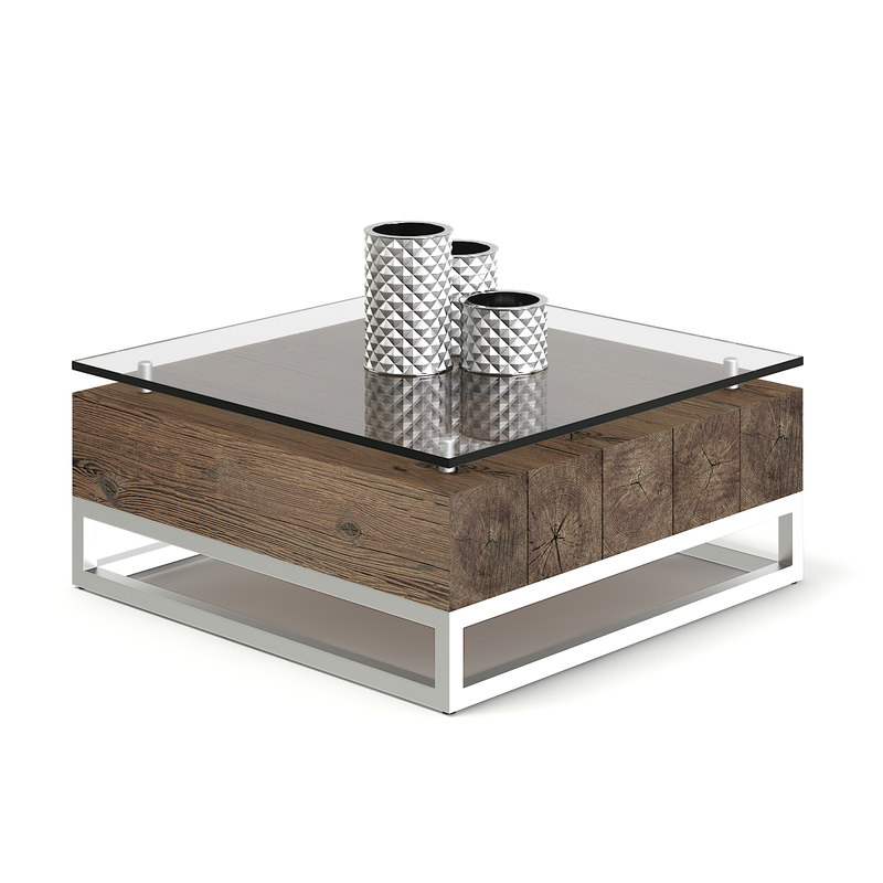 3D model wood glass coffee table