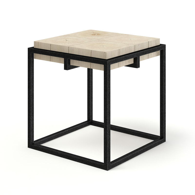 wood metal square coffee table model