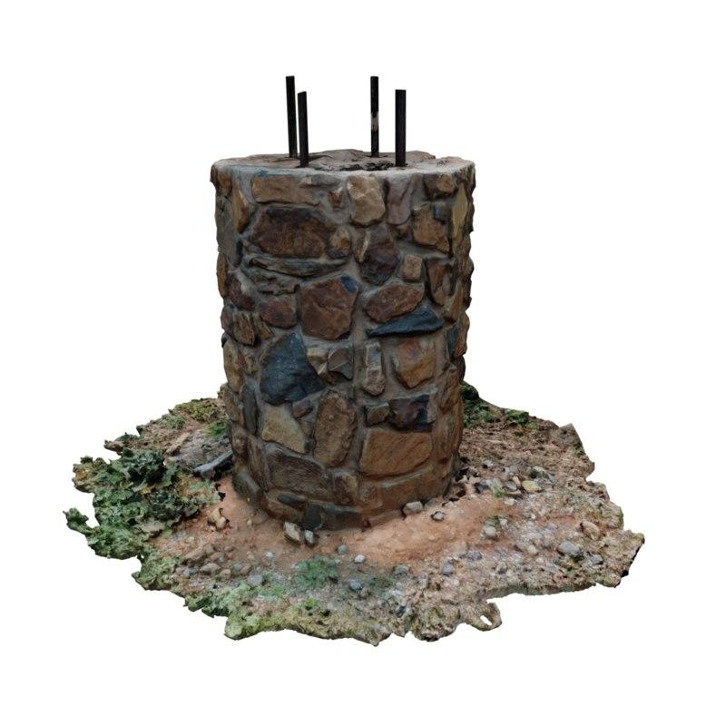 photogrammetry cobblestone pillar 3D model