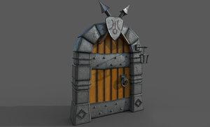 medieval cartoon gate 3D model