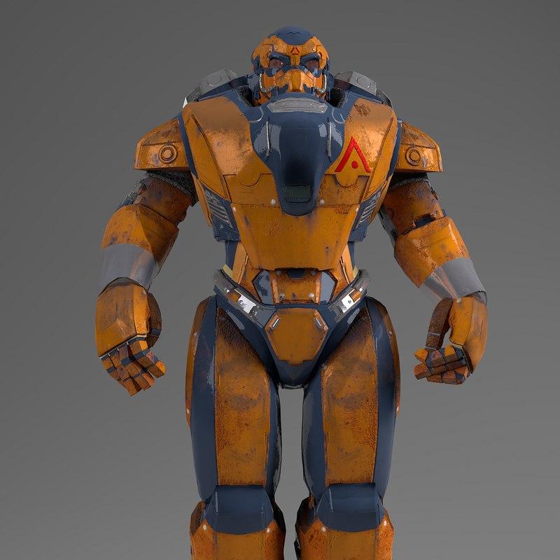 3D robot pbr metal