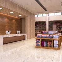 3D library interior model
