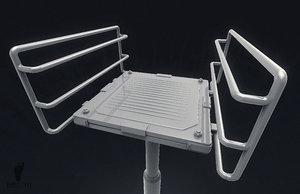 3D scifi elevator platform model