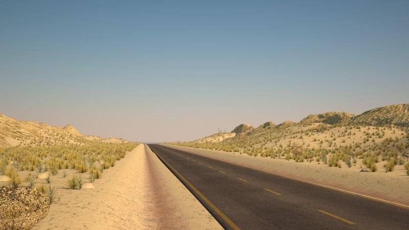 3D landscape desert road model