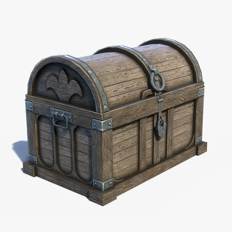 low-poly chest box 3D model