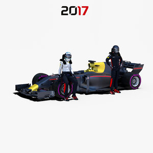 3D rigged f1 car 1 model