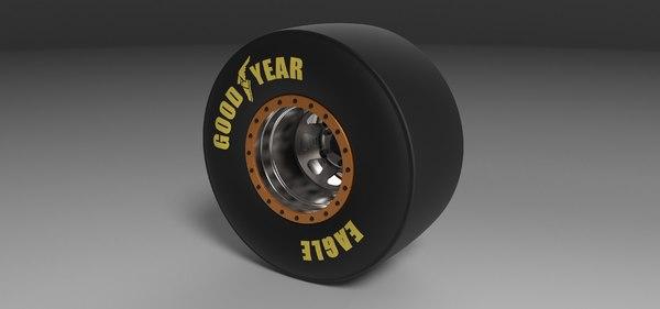 3D wheel drag dragster model