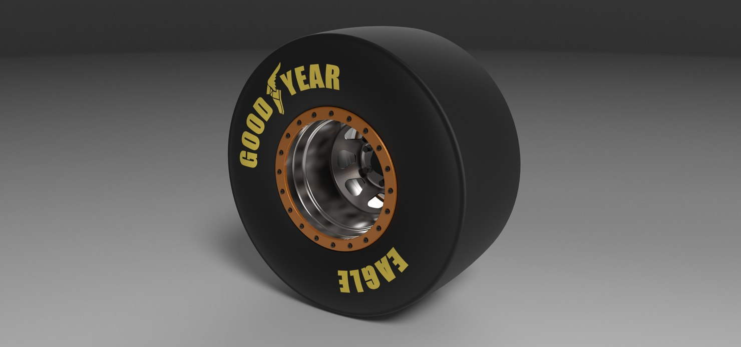 3D wheel drag dragster model