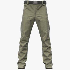 3D realistic khaki cargo pants model