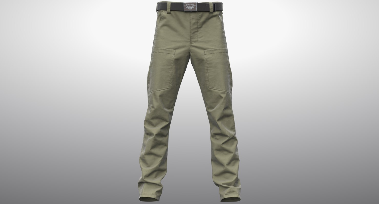 3D realistic khaki cargo pants model
