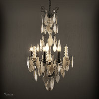 versailles wood teardrop chandelier 3D