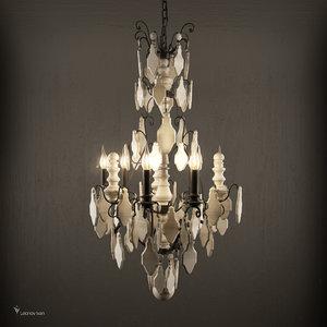 versailles wood teardrop chandelier 3D