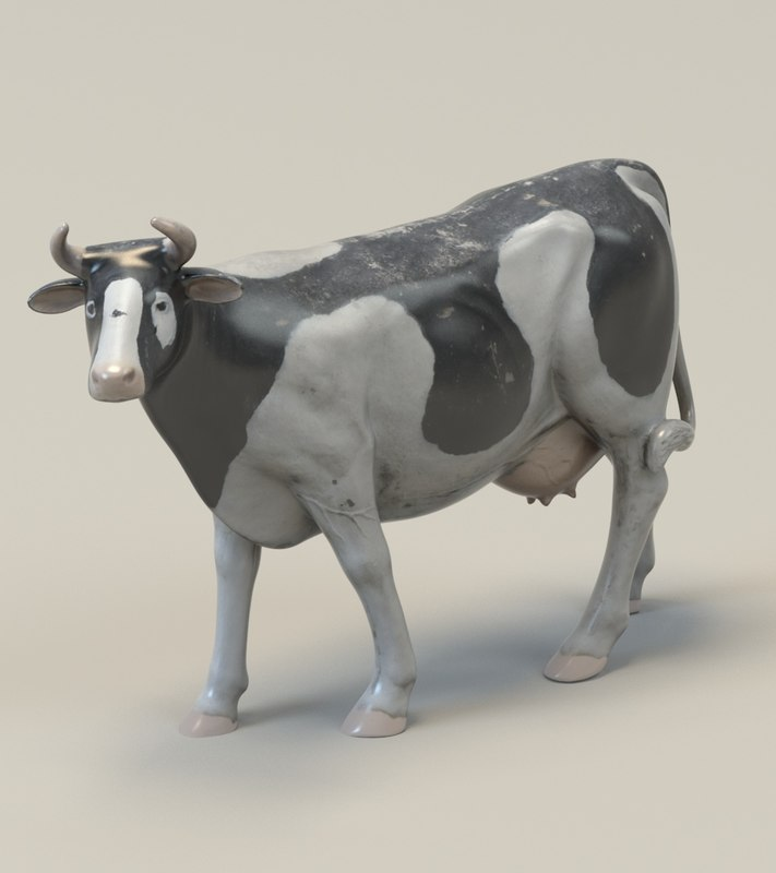 3D plastic toy cow
