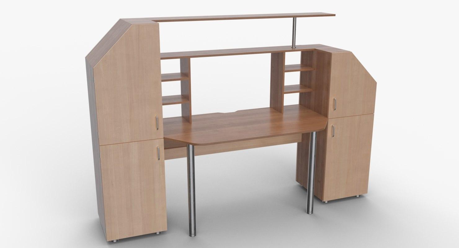 computer desk wall 3D model