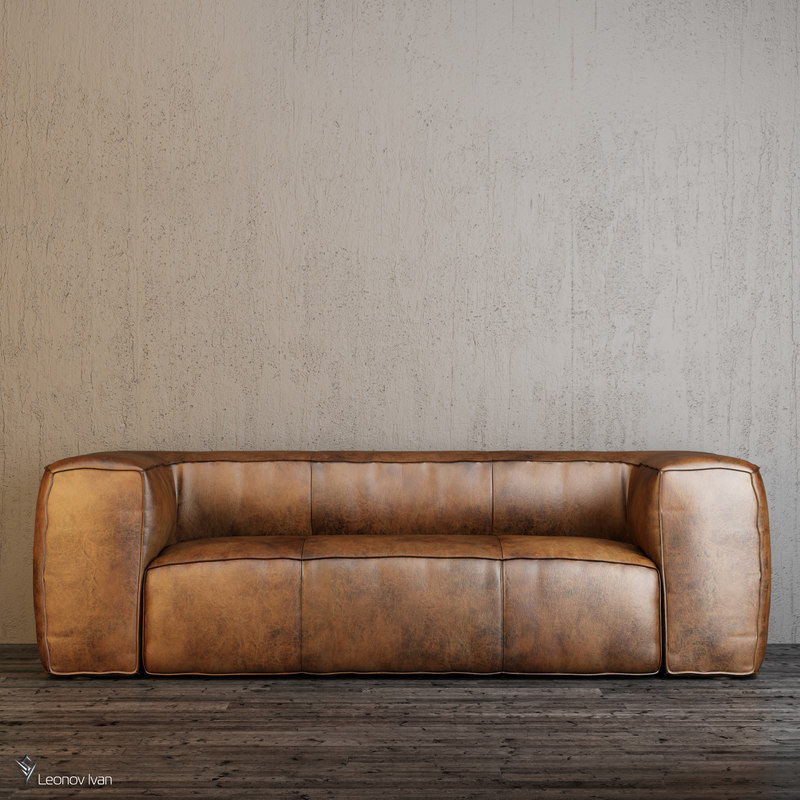 3D model fulham leather sofas