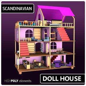 3D modern dollhouse model