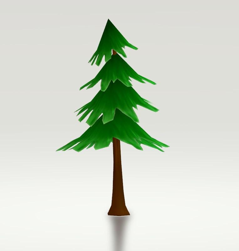 tree hand-drawn whimsical 3D model