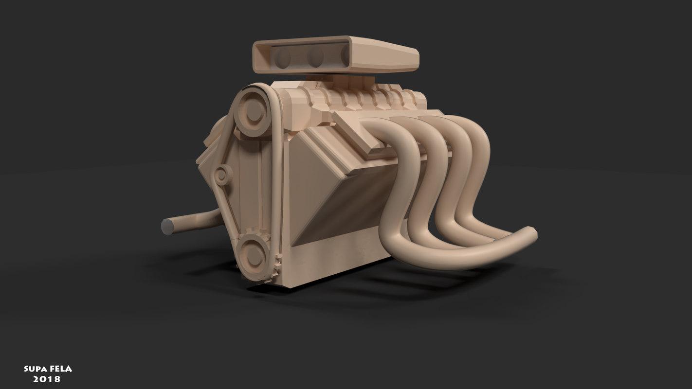 supercharger engine 3D model