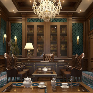 3D realistic executive office scene