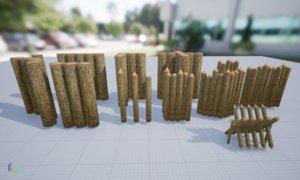 stockades medieval 3D model