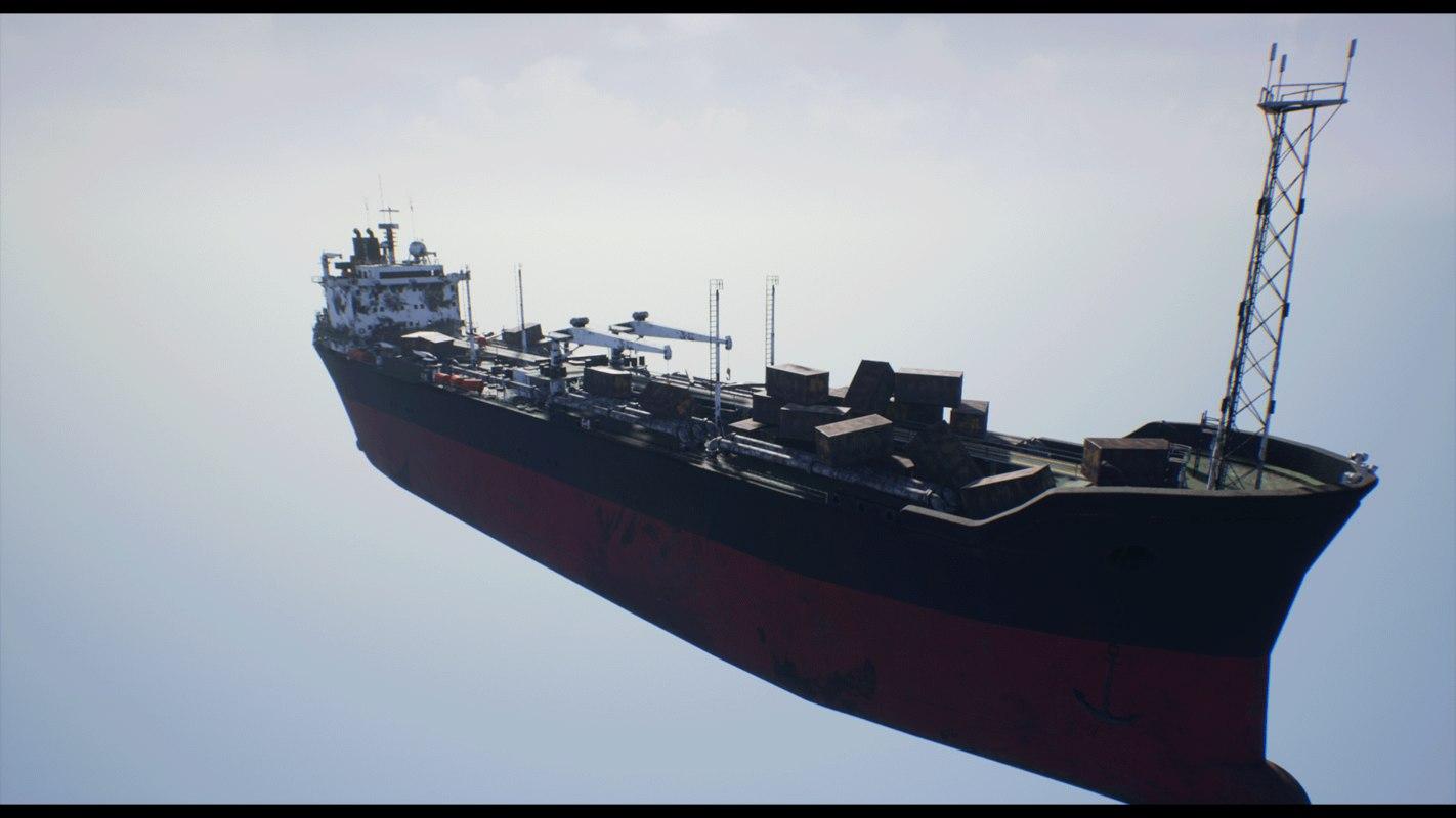 post-apocalyptic oil tanker post 3D model